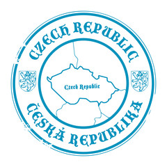 Stamp with the name and map of Czech Republic, vector