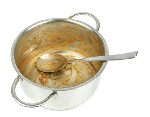 A dirty saucepan pot with spoon on a white background