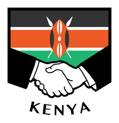 Kenya flag and business handshake, vector illustration
