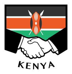 Kenya flag and business handshake, vector illustration
