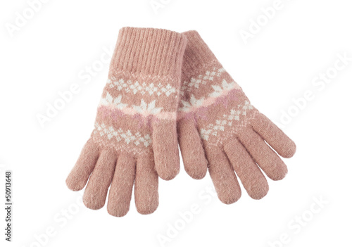 colorful wool gloves isolated on white background