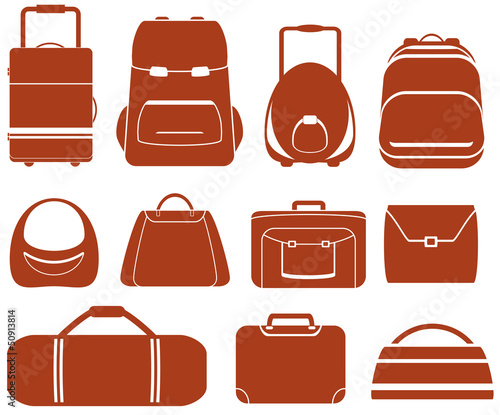 set many red isolated bag for man or woman