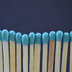 blue matches in a line