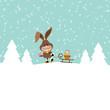 Bunny  Winter Forest Ski Sleigh Easter Basket Snow