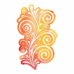 Watercolor design element for page decoration.