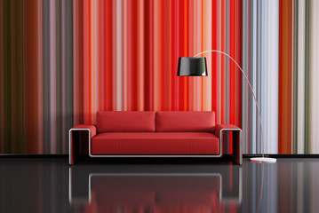 Modern interior with red sofa 3d render