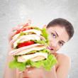 woman giving us a huge sandwich