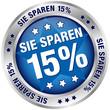 """Button """"Sie sparen 15%"""" blau/silber"""