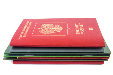 Stack of documents with passport