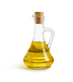 olive vegetable oil in glass pitcher isolated on white with clip