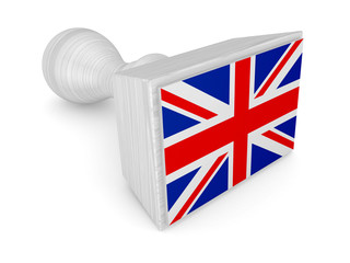 Wooden stamp with british flag.