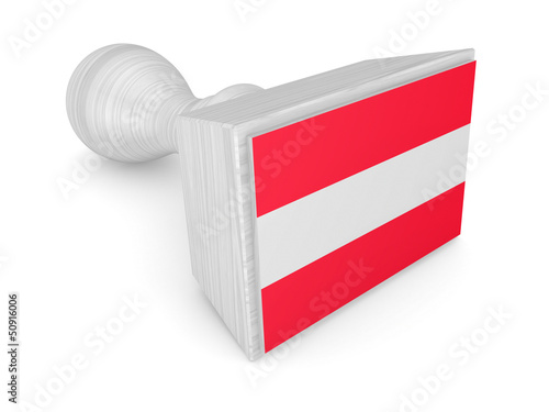 Wooden stamp with austrian flag.