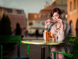 attractive young woman with colorful beverage