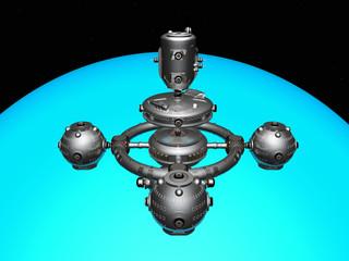 Blauer Planet mit Raumsonde