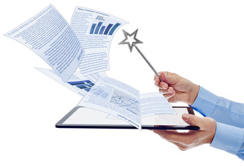 Businessman managing electronic documents