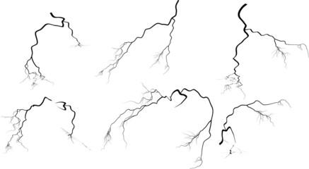 set of six black isolated lightnings