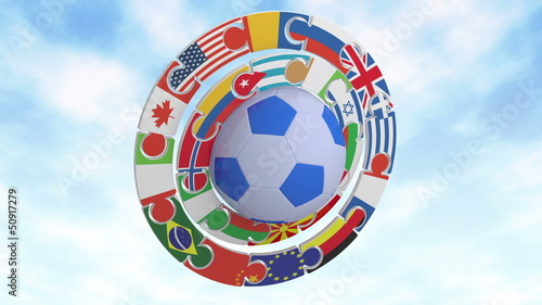Football with flags of the states