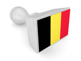 Wooden stamp with belgian flag.