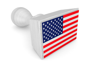 Wooden stamp with American flag.