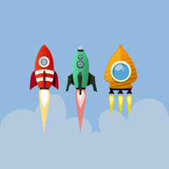Set of cartoon rockets