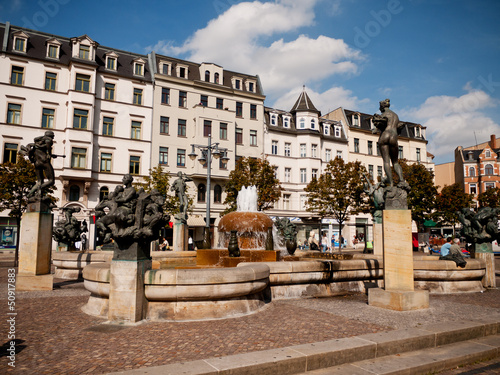 Leinwanddruck Bild Main square with fountain, Halle, Germany