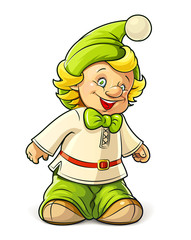 little gnome boy vector illustration isolated on white