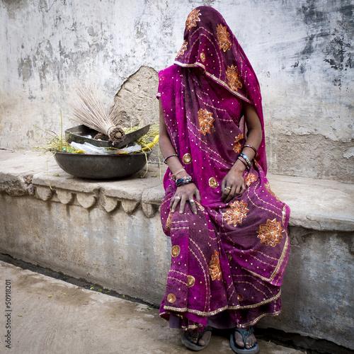 Femme voilée de la caste des Intouchables, Rajasthan.