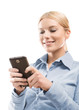Close up of blonde woman using smart phone