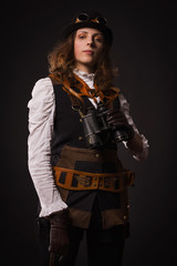Steam punk girl with binocular