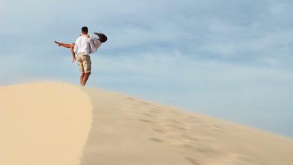 Loving couple hiking in the desert