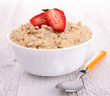 bowl of muesli and strawberry, porridge