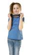 young girl lifting dumbbells