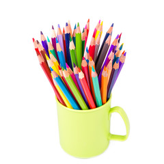 Color pencils in an office stand