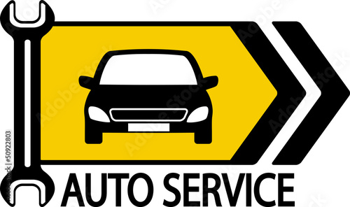 sign with car, wrench and arrow
