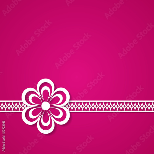 pink background with a lace and a flower