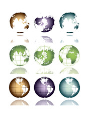 the globe of the earth in different positions