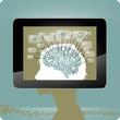 Kreativität - Analyse - Lernen - Illustration mit Tablet PC