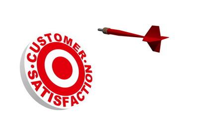 3d Dart Hitting Customer Satisfaction Bullseye