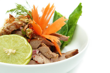 Grilled pork with seafood sauce