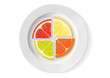 orange, lemon, lime and grapefruit are on the plate