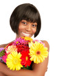 Black woman with bouquet