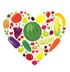 Healthy life. Heart of fruits and vegetables. Vector