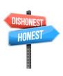 dishonest, honest road sign