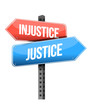 injustice versus justice road sign