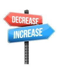 decrease, increase road sign