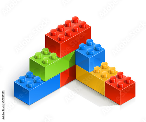 brick wall meccano toy vector illustration isolated on white