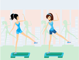 women doing exercise on aerobic step