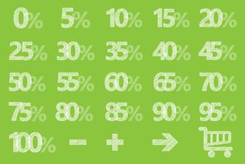 Rabatt Schilder Scribble Prozent Grün Limette