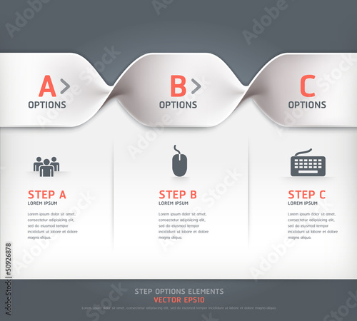 Modern spiral step options banner. Vector illustration.