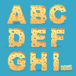 Cheese alphabet set. Vector illustration. More typeface style in